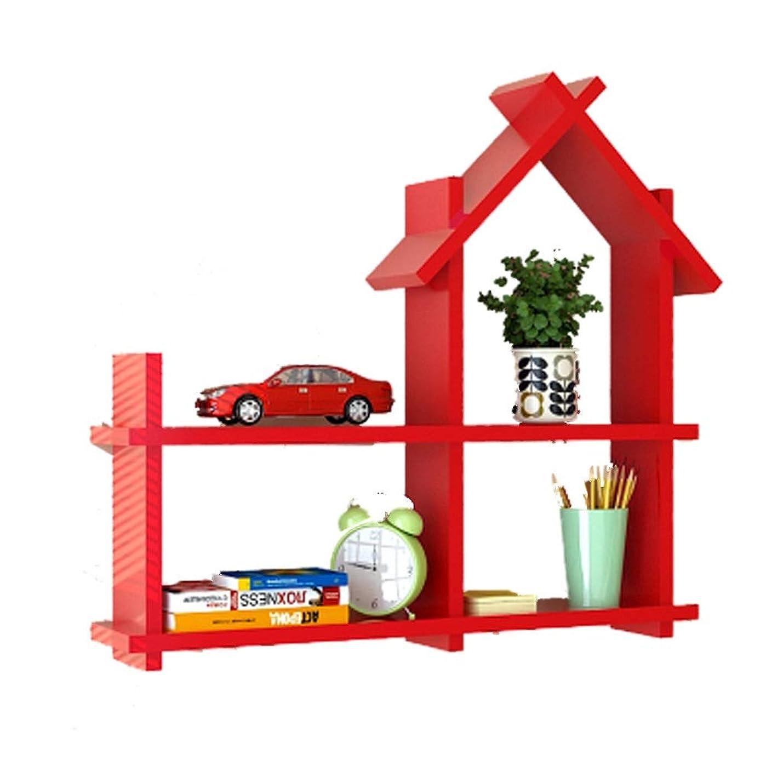 離れて可動式めるHLD 子供部屋装飾棚壁幼稚園小さな家クローゼット寝室リビングルームの壁装飾フレームパーティション 壁掛けラック (Color : Red)