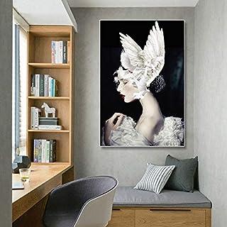 ganlanshu Peinture sans Cadre Pigeon Ailes Chapeau de Plumes Toile décoration de la..