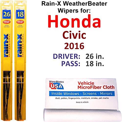 Rain-X WeatherBeater Wiper Blades for 2016 Honda Civic Set Rain-X WeatherBeater Conventional Blades Wipers Set Bundled with MicroFiber Interior Car Cloth