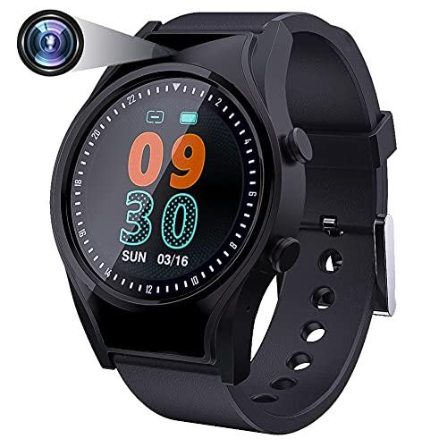 Espía Reloj Inteligente IPX6 Impermeable, 1080P Cámara Spy Smart Watch, Cámara Oculta con Monitor de Ritmo Cardíaco, Vídeo Audio y Grabación, Indicador de Actividad Física para Android y iOS Negro