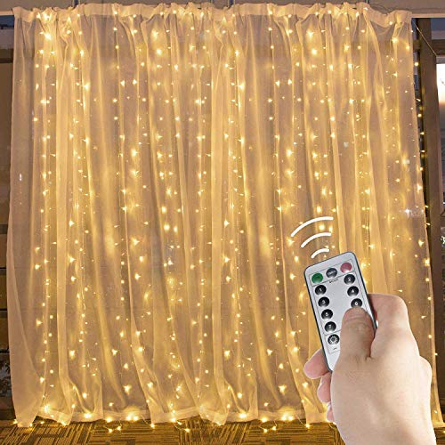 Window Curtain Lights, 600 Led 20 Feet Dimmable with Remote to Set 8 Lighting Modes and Timer, Unconnectable Led Lights for Bedroom Wall Wedding Decorate String Lights, Warm White, No Curtain