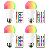 15W RGB y Luz de día Blanco E27 LED Bombilla, 16 Cambio de Color con mando a distancia IR, Home habitaciones KTV Bar Iluminación (Controller Baterías no incluidas) (4 Pieza)