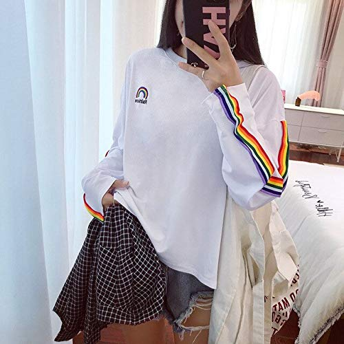 ADSIKOOJF T-shirt Rainbow gestreept lange mouwen Soft Loose borduurwerk stijl dames t-shirt Lovely Fashion Womens
