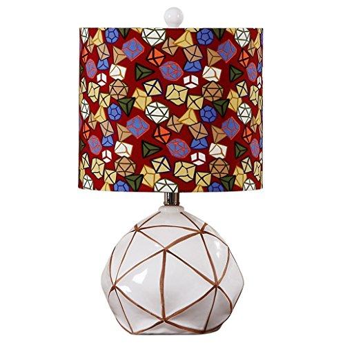 Lámparas de escritorio Lámparas de cerámica festivas del estilo americano, lámparas simples de la decoración de la sala de estar del dormitorio blanco Lámparas de mesa y mesilla de noche