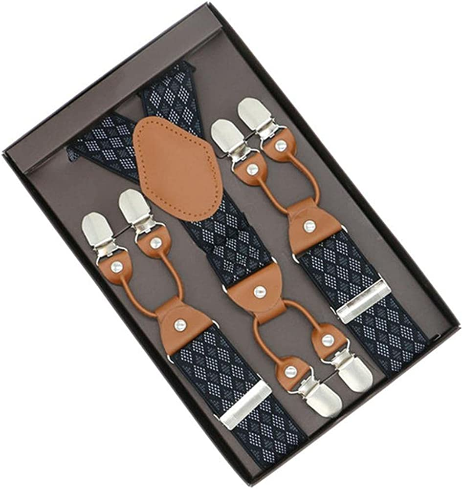 Fashion Printing Alloy 6 Clips Plaid Men Suspenders Y-Shape Jacquard Braces Elastic Adjustable Pants
