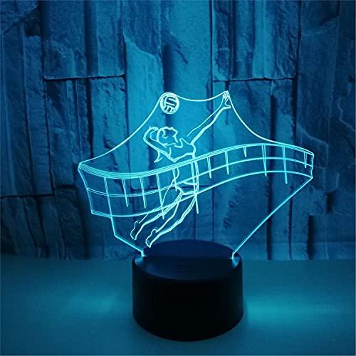 SLJZD luz de noche Patrón De Juego De Voleibol Lámpara De Noche Visual 3D Sensor Táctil Para Decoración De Bodas 7 Colores Luz De Cabecera Led Regalo De Festival De Amigos Con Control Remoto