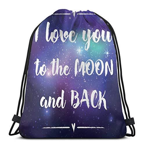 Kordelzug Bapa Taschen Sport Gym Cinch Bag Reisen für Frauen Männer Kinder, Äußere Se Mit s Ich Liebe Dich bis zum Mond und Ba Typografie