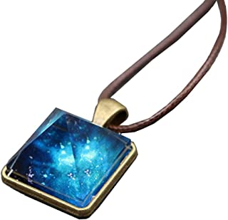 VANTIYAUS Pyramid Pendant Necklace Charm Luminous Alloy Crystal Stone Fluorescent Green Glow in The Dark Gift for gilrs Woman