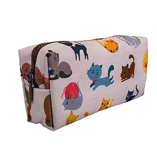 LParkin Cute Cat Pencil Case for Girls Pouch Teacher Gift Gadget Bag Make Up Case Cosmetic Bag Stationary School Supplies Kawaii Pencil Box