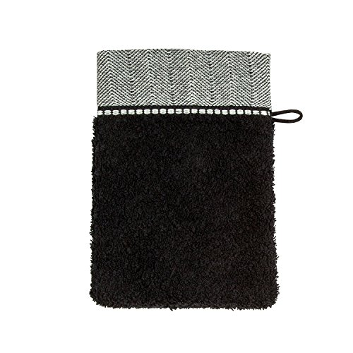 möve Brooklyn Waschhandschuh Uni mit Fischgratbordüre 15 x 20 cm aus 85 % Baumwolle / 10 % Viskose aus Bambus-Zellstoff / 5 % Leinen, black