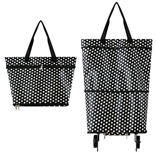 Foldable Shopping Bag with Wheels, Collapsible Trolley Bag on Wheels for Women, Reusable Shopping Trolley Dolly, Hard Wearing & Foldaway for Easy Storage #7747(White Point)