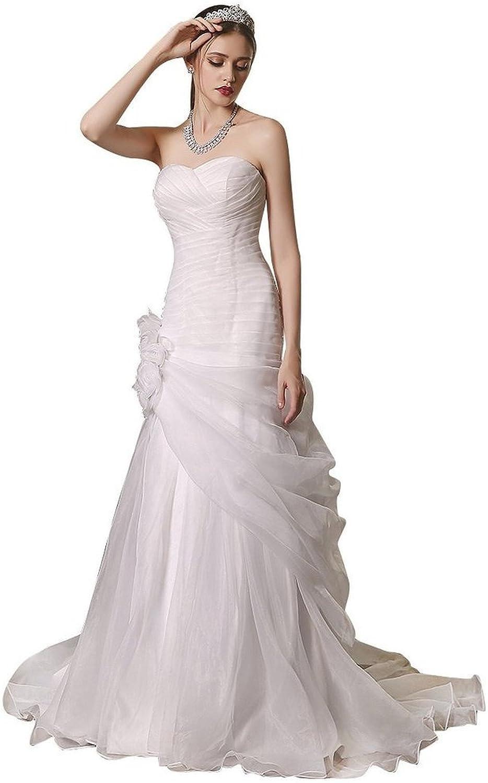 BessWedding Pleated Sweetheart Wedding Dresses for Bride 2016 Long Wedding Dress
