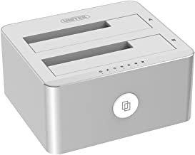 Unitek Aluminum USB 3.0 to SATA Dual Bay External Hard Drive Docking Station with UASP for 2.5 / 3.5-inch HDD SSD, Hard Drive Duplicator/Offline Clone Function (2 x 10TB Support)-Silver