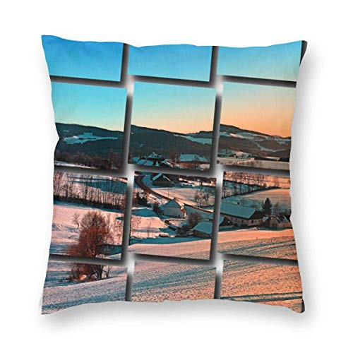 NR Winter Wonderland Afternoon Panorama Landscape Photography Square Pillowcase(Multi-Code) Home Bed Room Interior Decoration