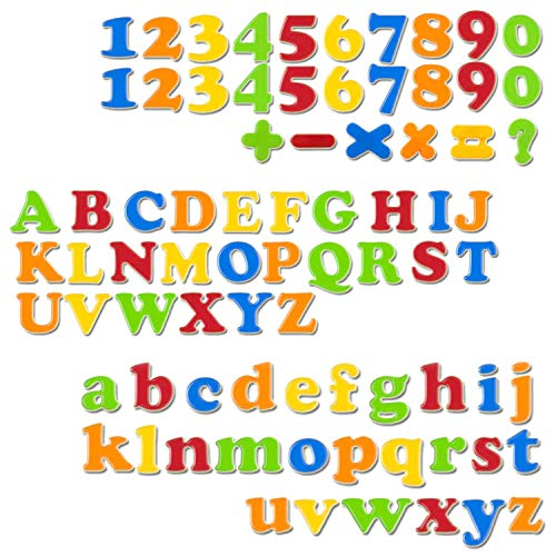 """ABCaptain Magnetic Letters Numbers Alphabets ABC 123 Fridge Magnets Plastic Educational Toy Set Uppercase Lowercase Math Symbols for Kid Preschool Learning Spelling Counting (78 PCS - 1.2"""")"""
