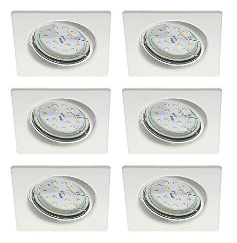 Trango 6Pack Foco en rectangular color blanco Incluye 6x 6W GU10LED & toma directa GU10de 230V a 50W halógeno lm TG6729–066S AN-6W