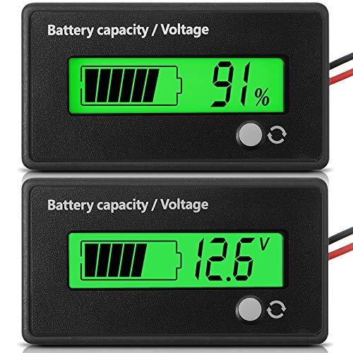 Dc 12V 24V 36V 48V 72V Allarme Misuratore di Batteria, Tester Batteria Indicatore di Tensione Capacità Batteria Misuratore di Batteria Indicatore di Batteria Piombo-Acido e Agli Ioni di Litio, Verde