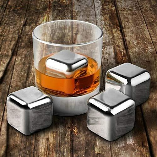 NMLB 8 Stück 304 Edelstahl Whisky Weinsteine Reuseble Cooler Ice Cubes Ball mit Eisclip, Silber