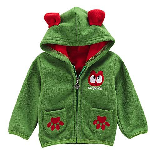 FeiliandaJJ Baby Jacken Jungen Mädchen Fleecejacken Kinder Winterjacke Mit Kapuze Mantel Oberteile Warme Kleidung Günstige Babyjacken (90 (12~18Monate), Grün)