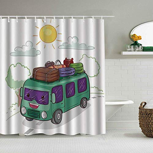 Wdoci Decoration Shower Curtain,Birthday,Christmas Hippie Van Outdoor Activity on The Bus Carrying Luggage in The Countryside,Bath Curtains Cloth Fabric Bathroom Decor Set with Hooks(150x180cm)