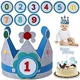 FORMIZON Cumpleaños Sombrero, Corona Tela Cumpleaños, 0-9 Años Azul Corona De Tela Decoración, Corona Cumpleaños Infantil, Corona de Tela Fieltro Y Fiestas para Niños Y Niñas (Azul)