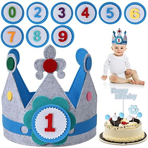 FORMIZON Cumpleaños Sombrero, Corona Tela Cumpleaños, 0-9 Años Azul Corona De Tela Decoraci�...