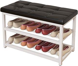 Banc de rangement pour chaussures Organisateur de rangement pour étagère à chaussures à 3 niveaux avec siège rembourré en ...