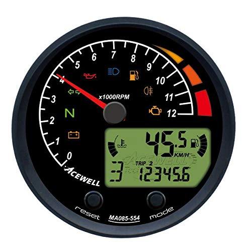 Motorrad-Drehzahlmesser mit Nadel & Schaltblitz, ABE, Digital-Anzeige von 5 Werten (Geschwindigkeit, Gang, Tank, Motor-Temperatur, wählbarer Wert), 8 LED Kontrollleuchten, ACE-MA085-454-ABB