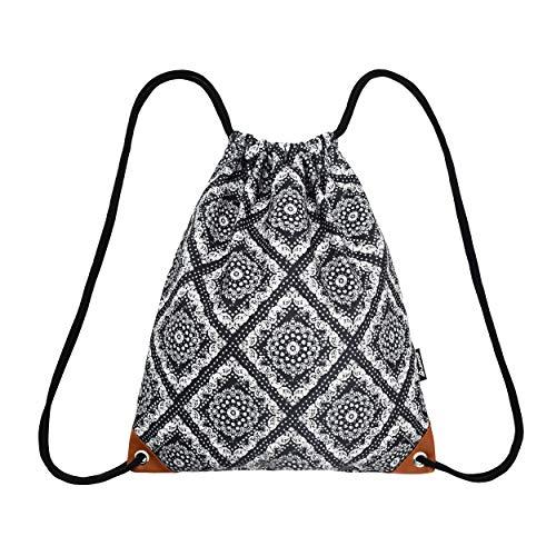 Leapop, sacca sportiva unisex, in tela, con stampa hipster, con tasca interna, Adulti (unisex), Totem + marrone., Taglia unica