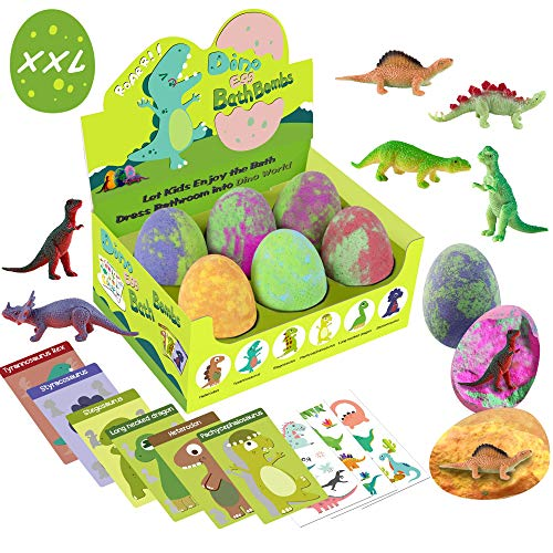 Bath Bombs for Kids with Surprise Toys Inside - XXL Dinosaur Toys Bath Bomb Gift, Gentle and Kids Safe Spa Bath Fizz Balls Kit. Birthday or Easter Gift for Girls and Boys