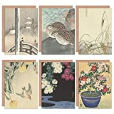 Ohara Koson Japanese Azalea Chrysanthemums Cuckoo Grasshoppers Quail Snow Fine Art Greeting Card Pack of 6