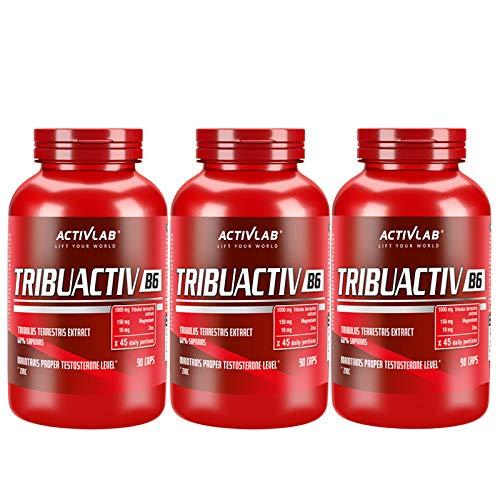 ACTIVLAB TRIBUACTIV B6   Potenciador de testosterona   Apoyo hormonal   Tribulus Terrestris   Zinc   Magnesio   Vitamina B6 (270 Cápsulas)