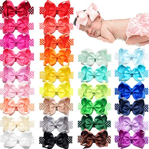 30 Colors Big 6 inches Hair Bows Breathable Soft Crochet Headbands for Baby Girls Newborn Infants Toddlers Hair Accessories Head Wear Accessories