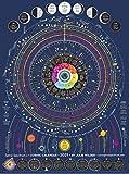 """Cosmic Astrology Calendar 2021 - Spiral Spectrum, 18"""" X 24"""" Zodiac Poster , Astrology Chart , Lunar Moon Calendar, Graphic Ephemeris"""
