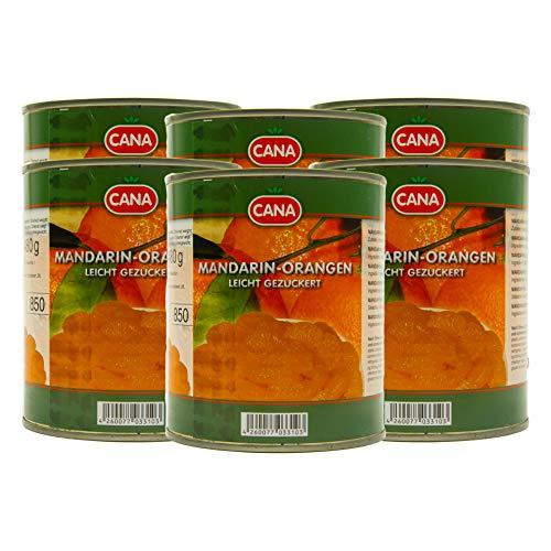 Food-United türkische Mandarin-Orangen geschält ohne Kerne leicht gezuckert in Sirup 6 Dosen Füllm 800g ATG 480g Ring-Pull-Verschluss intensiv komplexes Aroma gleichmäßige ganze Segmente (6 Dosen)
