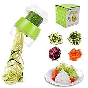 TOCYORIC Cortador de Verdura 4 en 1 Rallador de Verduras Calabacin Pasta Espiralizador Vegetal Veggetti Slicer Pepino, Espaguetis de Calabacin, Cortador Espiral Manual