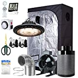 BloomGrow 300W Full Spectrum UFO LED Light + 36''x20''x63'' Grow Tent + 4'' Inline Fan Filter Duct Combo + Hangers + Hygrometer + Shears + 24-hour Timer + Trellis Netting Indoor Grow Tent Complete Kit