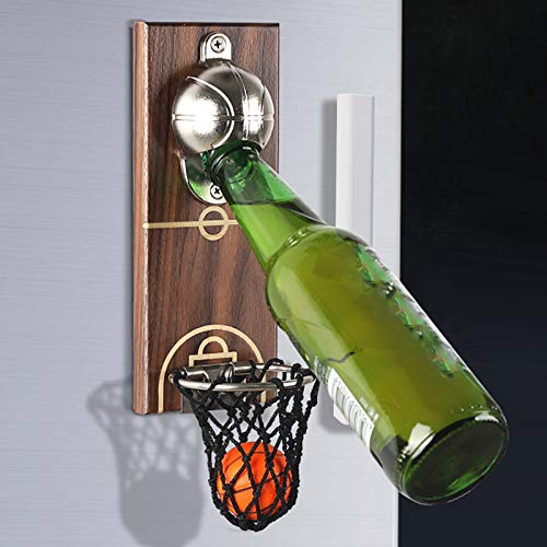 Cokritsm Magnet Wall Mounted Bottle Opener with Cap Collector Catcher Basketball Beer Opener Ideal Gift for Beer Lovers As Kitchen Yard Bar Decoration