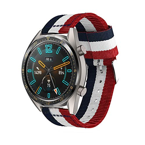 Angersi 22mm Soft Nylon Sport Correa Replacement Bands Compatible con Huawei Watch GT 46mm/Watch GT Active/Watch 2 Pro/Honor Watch Magic/Galaxy Watch 46mm/Gear S3