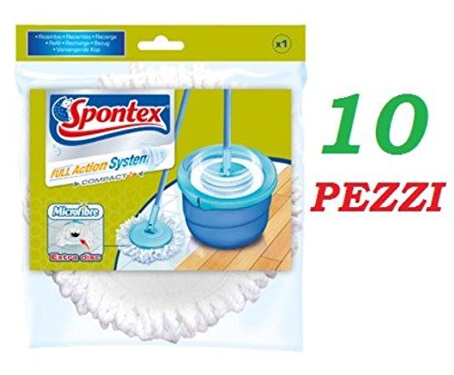 10 PZ SPONTEX MOP RICAMBIO FULL ACTION SYSTEM PLUS100% MICROFIBRE MOCIO ORIGINAL