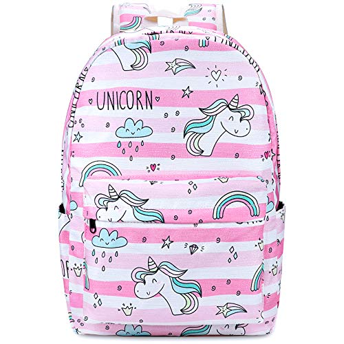 Xinveen Unicorn Rainbow Backpack Kids Twinkle School Bag Lightweight Laptop Backpack Multifunction Travel Daypack Gift for Teen Girls Women