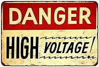 ヴィンテージホーム装飾危険高電圧金属錫サイン居酒屋ホームショップレトロアートポスタープラーク装飾インチ