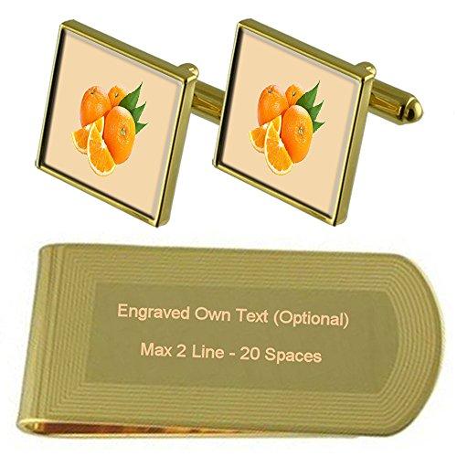 Select Gifts Obst Orangen Gold-Manschettenknöpfe Geldscheinklammer Gravur Geschenkset