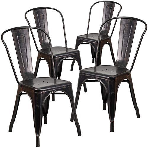 Flash Furniture 4 Pk. Black-Antique Gold Metal Indoor-Outdoor Stackable Chair
