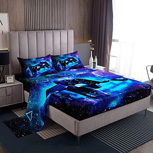 Loussiesd Juego de sábanas Gamer Gaming SetBoys Galaxy Juego de sábanas de videojuegos Chic Universo Starry Sky Juego de ropa de cama para niños y adolescentes