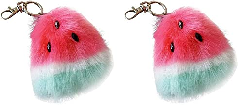 IUASZZ 2 Pieces Keychains Red Hairy Cute Plush Watermelon Shape Pompom Ball Key Chain Alloy Keyring Faux Fur Fuzzy Charm Backpack Pendant for Women Girls School Bag Accessories 10x9cm/3.94x3.54''