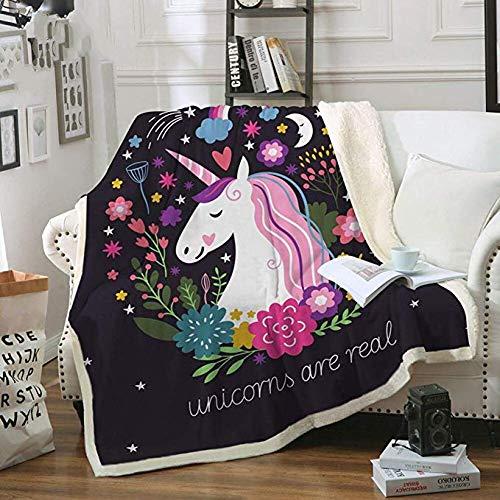 MegOK Ropa de Cama Embrague Unicornio elvet Manta de Tiro de Felpa Impreso Floral para niñas de niños Sherpa de sofá para sofá, edredón Fino Negro, 150 cm x 200 cm