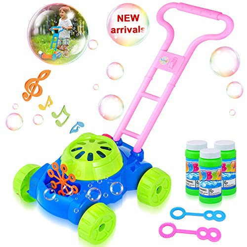 HOMOFY Bubble Machine Toys Bubble Lawn Mower Machine with Music 1,000 Bubbles Per Minute Automatic Durable Trolley Bubble Toy Mower Gifts for 2 3 4 5 Years Old Kids Gift.