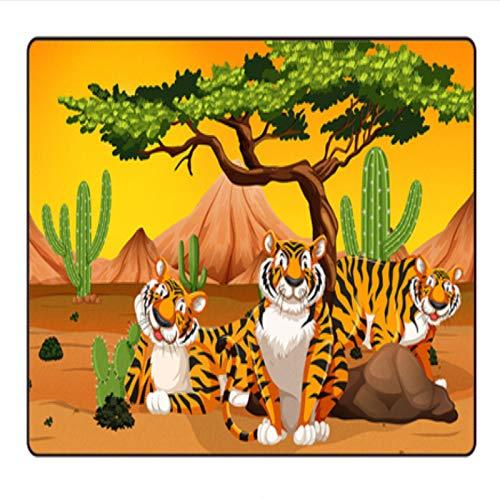 ZZXC Alfombra para El Hogar Rectangular De Dibujos Animados Patrón De Tigre Habitación para Niños Dormitorio Sala De Estar Escuela Comedor Alfombra De Juego Alfombra Antideslizante Simple Moderna