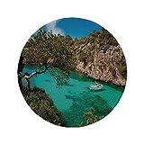 Alfombrilla de ratón Redonda de Goma Antideslizante Naturaleza Pequeño yate flotando en el mar Mallorca España Vista panorámica de los árboles forestales de Las Montañas Rocosas Azul Aguamarina Ver